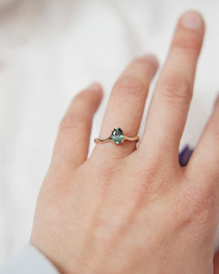 Sea Green Sapphire Solitaire Ring