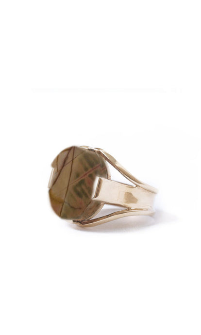 Soavi Ring with Cherry Creek Jasper, Blush Olive and Cognac