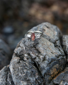 Sunstone & Antique Diamond Ring