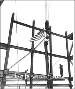 Life & Casualty Tower Construction - 2 men and flag, circa mid 1950's