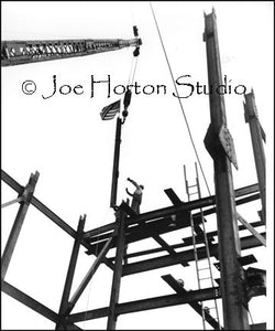 Life & Casualty Tower Construction - hoisting the American flag, circa mid 1950's