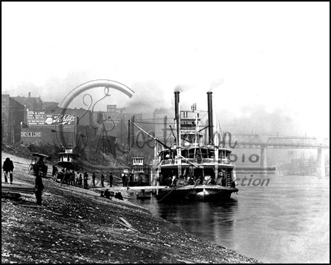 Nashville Wharf with Buttorf Steamboat
