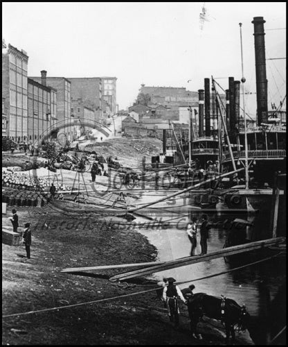 Nashville Riverfront with Steamboats - circa 1870's
