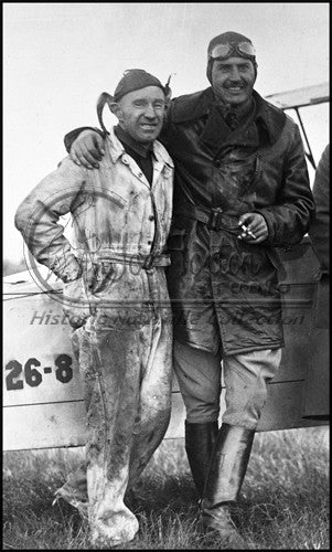 Pilot & His Mechanic Standing by their Plane