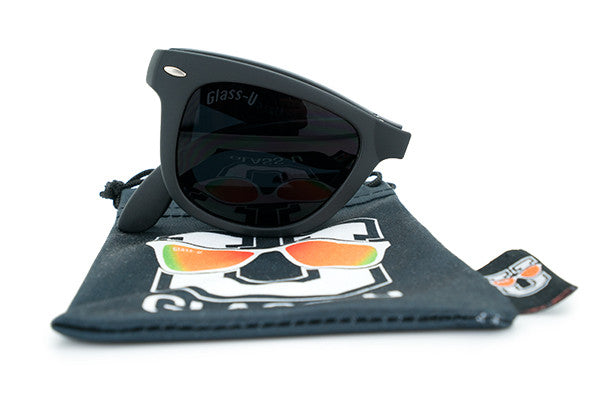Glass-U custom designed all black foldable sunglasses with microfiber pouch