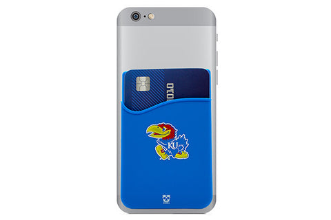 Glass-U Kansas Jayhawks phone wallet on phone