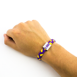 Glass-U LSU Tigers Woven bracelet on wrist
