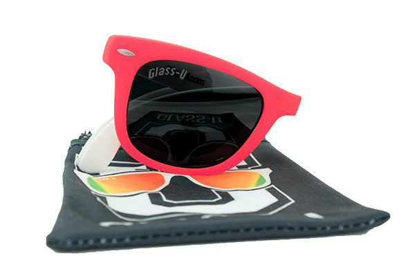 Glass-U custom designed red and white sunglasses with microfiber pouch