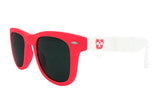 Glass-U custom designed red and white sunglasses