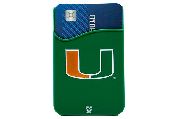 Glass-U Miami Hurricanes Phone Wallet on phone