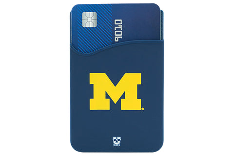 Glass-U University of Michigan phone wallet on phone