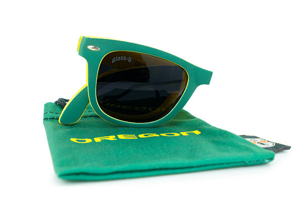 Glass-U Oregon Ducks Sunglasses with matching microfiber pouch