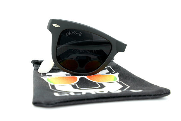 Glass-U custom designed black and white foldable sunglasses with microfiber pouch