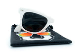 Glass-U custom designed all white sunglasses with microfiber pouch