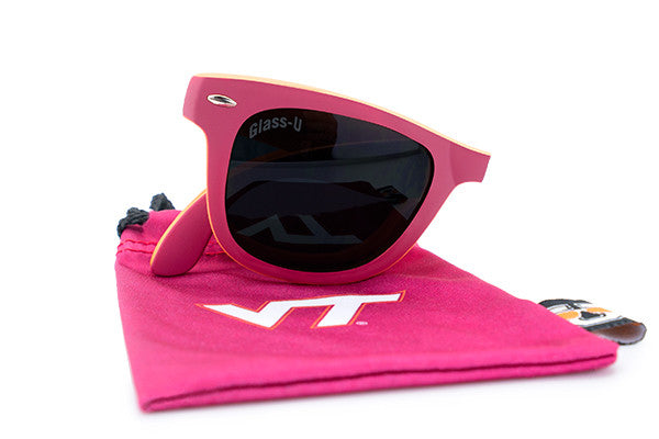 Glass-U Virginia Tech Hokies sunglasses with matching microfiber pouch