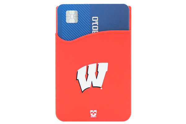 Glass-U University of Wisconsin Badgers phone wallet on phone