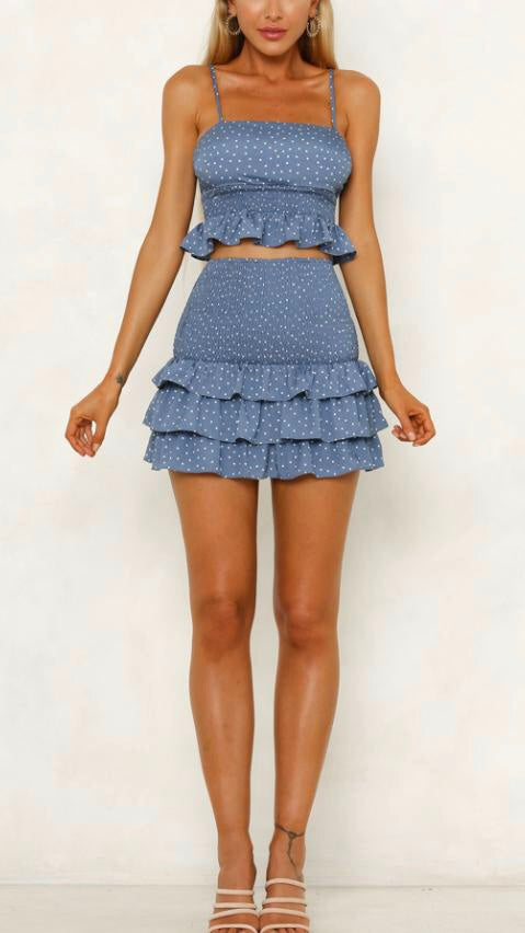 Blue Two-Piece Womens Set