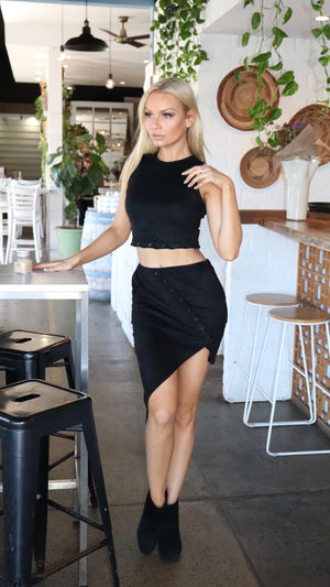 Black Suede Top and Skirt 2 Piece Set