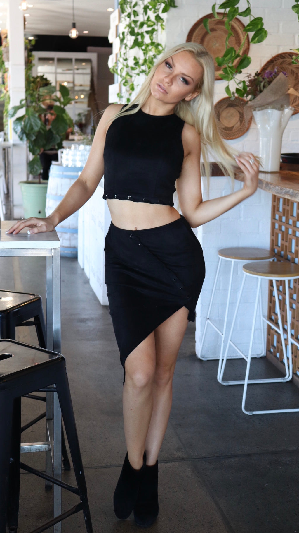 Black Suede Top and Skirt Two Piece Set