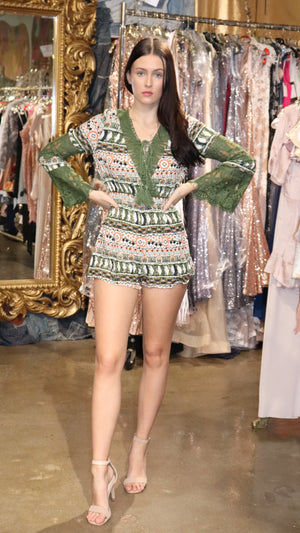 Green Patterned Womens Long Sleeved Playsuit