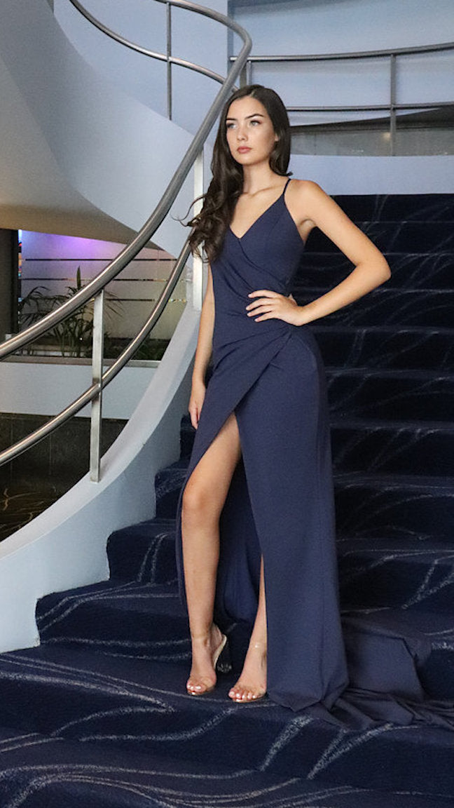 Navy Floor Length Couture Evening Gown