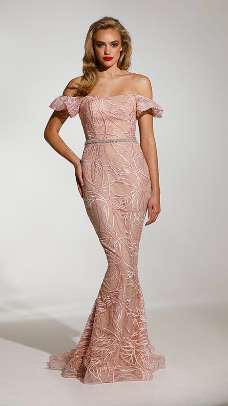 Pink Blush Couture Lace Womens Evening Gown