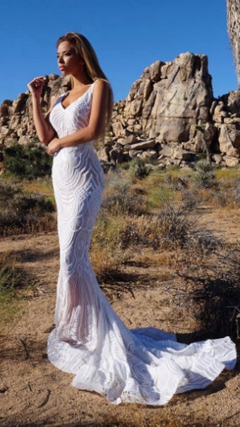 White Couture Sequin Gown