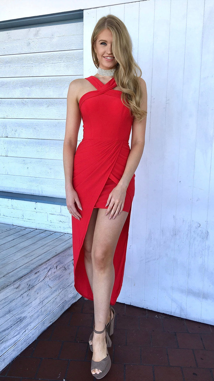 Red High Low Womens Cocktail Dress