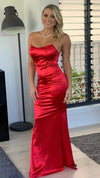 Red Couture Strapless Womens Formal Gown