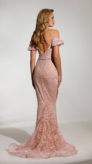 Pink Blush Couture Lace Womens Formal Dress
