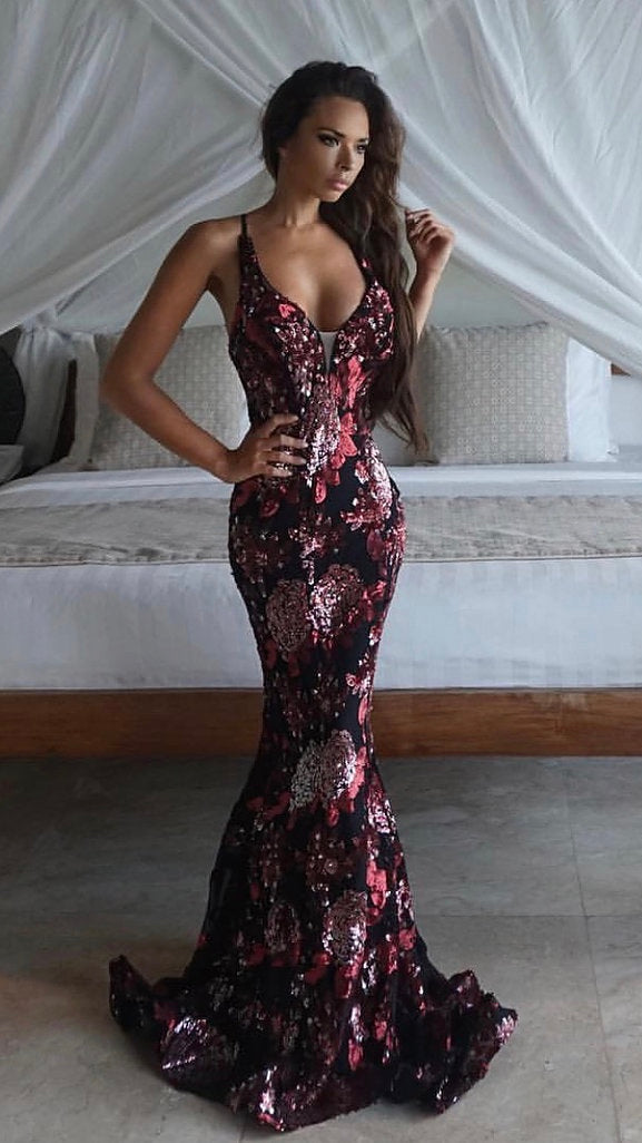 Red Black and Gold couture Evening Gown Tina Holy