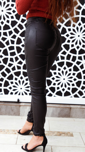 No Question Leather Look Pants