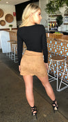 Womens Suede Mini Skirt Tan Khaki