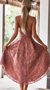 Womens Cocktail Lace Blush High Low Style Dress