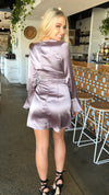 Mauve Satin Wrap Dress Long Sleeved Purple Womens Mini