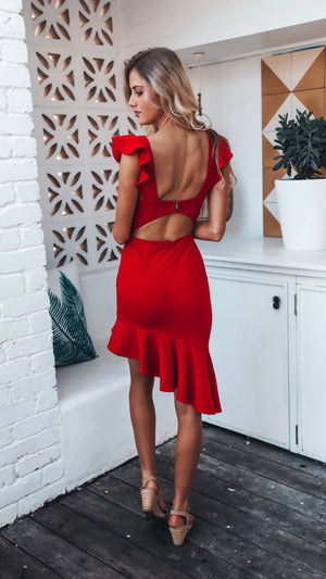 Midi Red Dress with Frill