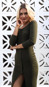 Khaki Midi Womens Off the Shoulder Knit Dress
