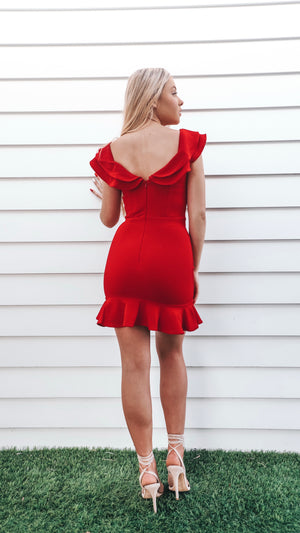 Mini Womens Red Dress with Frills