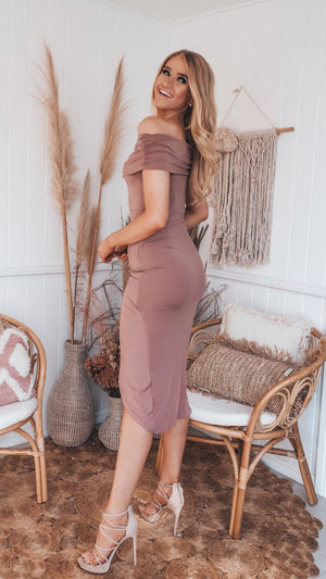 Tan Stretch Off The Shoulder Midi Dress