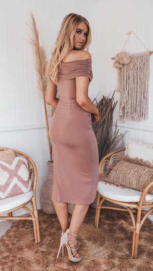Tan Stretch Midi Dress