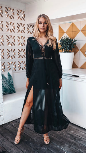 Womens Black Sheer Maxi with Side Spllits