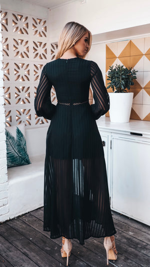 Womens Black Sheer Maxi with Side Splits