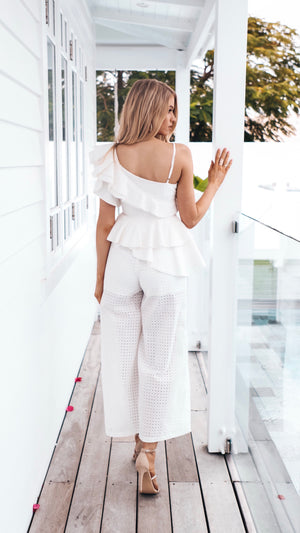 White Lace Womens Jumpsuit Race Day Attire Cocktail Outfit