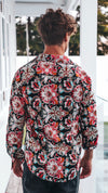 Mens Formal Shirt Button Up Floral Red Print