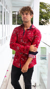 Red Statement Mens Dress Button Up Shirt