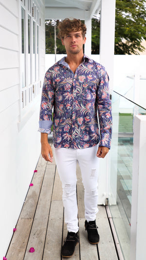 Summer Pattern Mens Button Up Dress Shirt