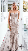 Gold Sequin Couture Formal Dress
