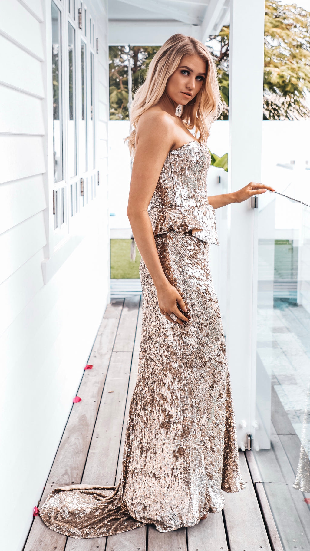Gold Sequin Formal Gown