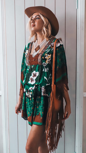 Brown and Green Womens Mini with Tassels Boho