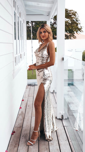 Gold Sequin Couture Gown